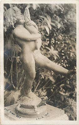 Fish Boy Statue M. M. Ryerson Real Photo Postcard Panama Pacific Expo 1915