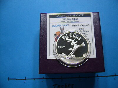 Wile Coyote Road Runner Warner Looney Tunes Vintage 999 Silver Coin Box Coa #2