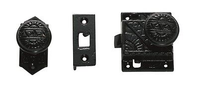 Cast Iron Matte Black Decorative Screen Door Latch Knob