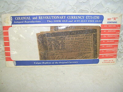 Vintage Colonial & Revolutionary Currency Antiqued Reproductions Of 1773-1781