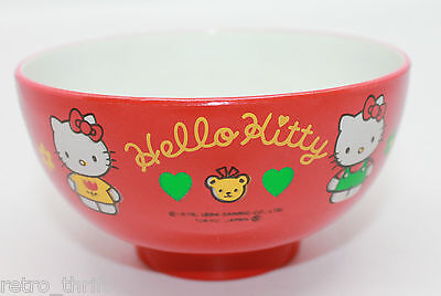 Sanrio Japan Hello Kitty Children Owan Miso Soup Bowl Lacquerware Red Flowers