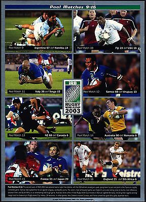 England Rugby World Cup 2003 Pool Matches 9 - 16 Card - J14