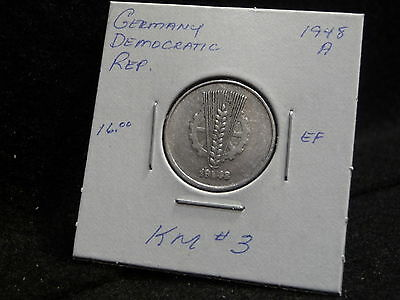Germany  Democratic Rep. :  1948 A   10 Pfennig  Coin   (Ef.)  (#694)  Km # 3