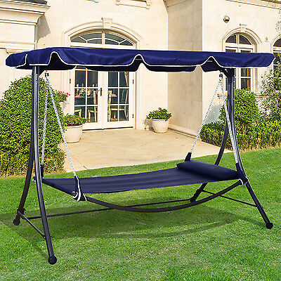 Outsunny Metal Swing Chair Patio Sun Lounger Hanging Hammock Bed Canopy Pillow