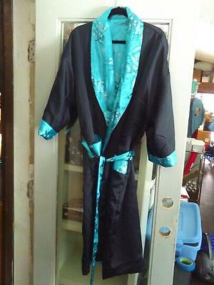 Teal XL Reversible KIMONO Robe ~ Printed one side/Embrodiered Dragon otherside