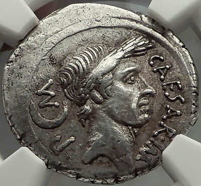 JULIUS CAESAR 44 BC .Authentic Ancient Silver Roman Pedigreed Coin NGC Ch XF*