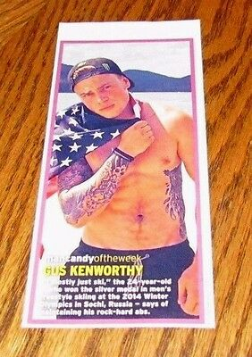 Shirtless GUS KENWORTHY 3X7 PINUP Clipping Male Tattoos American Flag
