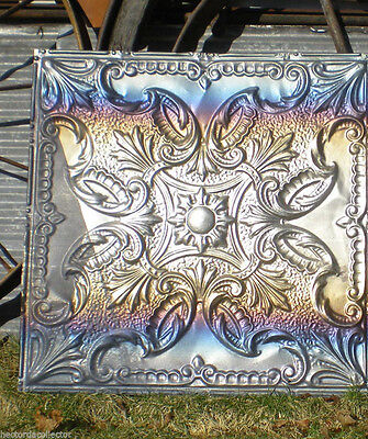 Antique Victorian Ceiling Tin Tile Flowers w Iridescent Carnival Patina Chic