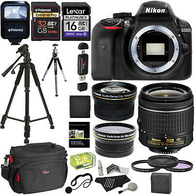 Nikon D3300 AF-P Digital SLR Camera with 18-55mm DX VR II Zoom Lens +Accessories