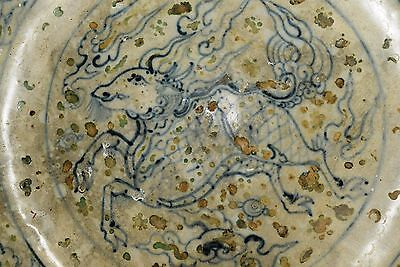 Hoi An - 15th Century - Under-glazed Blue/Enameled Magnum Dish, Kirin Decoration