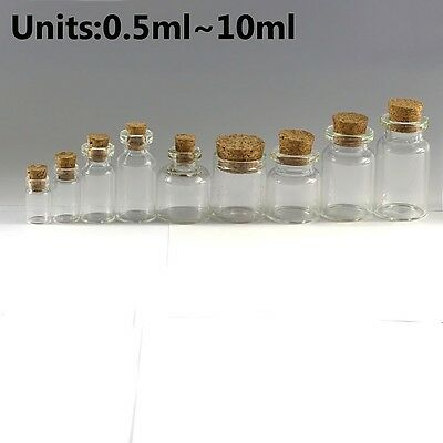 0.5ML~10ML Clear Mini Small Cork Stopper Glass Vial Jars Containers Bottles