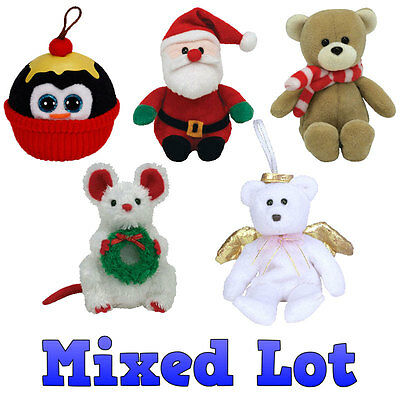 TY Jingle Beanie Babies - Bulk Mixed Lot of 5 Holiday Beanies (All Different)