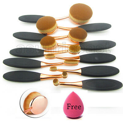 Rose Gold 10Pcs Oval Toothbrush Lip Powder Blusher Foundation Eye Makeup Brushes