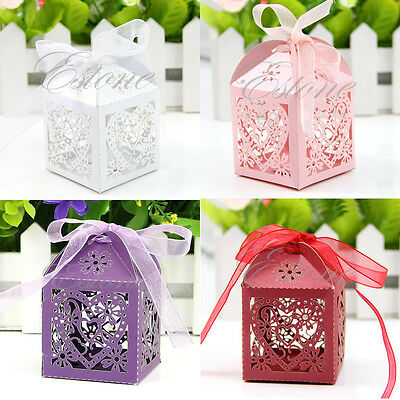 50/100 PCS Love Heart Laser Cut Candy Gift Boxes With Ribbon Wedding Party Favor