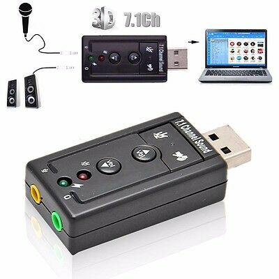 Black External USB 2.0 to 3D Virtual Audio Sound Card Adapter Converter 7.1 CH