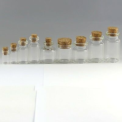 Clear Mini Bottles Small Cork Stopper 10/30/50/100PCS Glass Vial Jars Containers