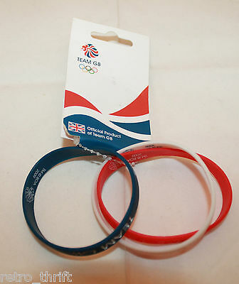 New Team GB 2012 London Olympic Set of 3 Official Rubber Wrist Bands Red White