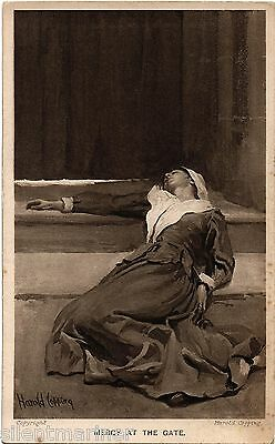 Harold Copping religious postcard, Mercy at the Gate, unposted