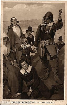 Harold Copping religious postcard, Pilgrims Climbing The Hill Difficulty, unused