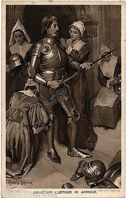 Harold Copping religious postcard, Christian Clothed in Armour, unposted