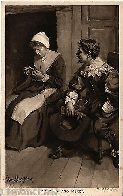 Harold Copping religious postcard, Mr. Brisk and Mercy, unposted