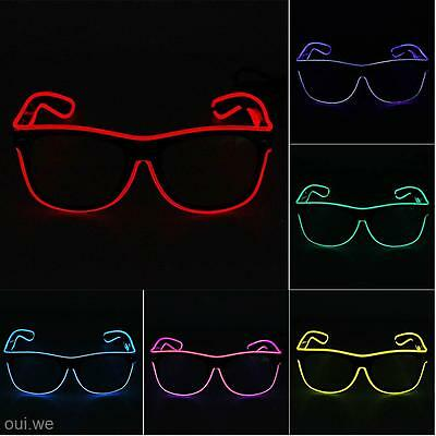 Hot LED EL Wire Glasses Light Up Glow Costume Party DJ Sunglasses Eyewear Shades