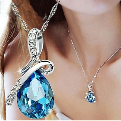 New Womens Fashion Silver Chain Crystal Rhinestone Pendant Necklace Jewelry Gift