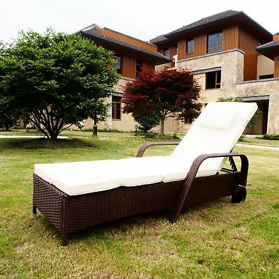 FoxHunter Rattan Day Chair Recliner Sun Bed Lounger Wicker Garden Terrace Brown