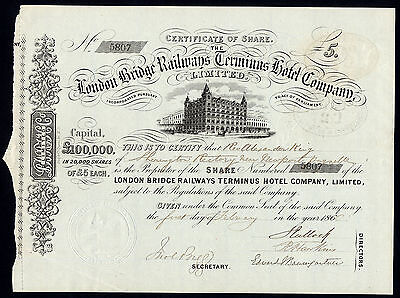 London Bridge Railways Terminus Hotel Co. Ltd., £5 share, 1860, attractive.