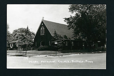 Buffalo Minnesota Mn c1950s RPPC Brick Dewey Methodist Church, Corner 2nd & 2nd.