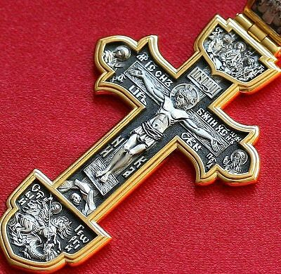 Big Russian Greek Orthodox Icon Cross,silver 925+.999 Gold. Save And Protect.