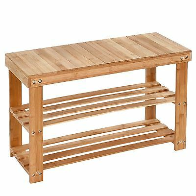 Amazing New Style 2 Tier Shoe Storage Rack Stool 100% Natural Bamboo with Bench