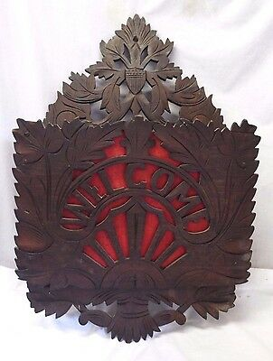 "Antique VICTORIAN Carved Walnut ""Welcome"" Wooden MAGAZINE RACK Shield Leaves"