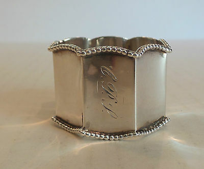VINTAGE GORHAM STERLING SILVER OCTAGONAL SHAPED, BEADED NAPKIN RING, 25 grams