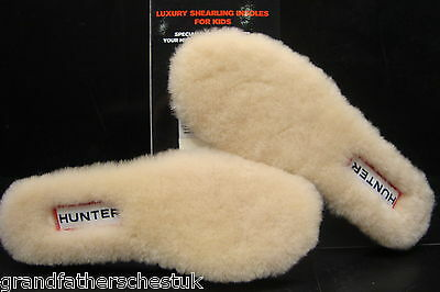 Genuine Childrens Hunter Hunters Boots Fleece Shearling Insoles Size Uk 1 Eur 33
