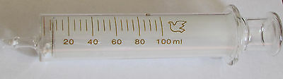 Glass syringe 5/10/20/50/100 ml cc re-usable lab ink sampler no needle New