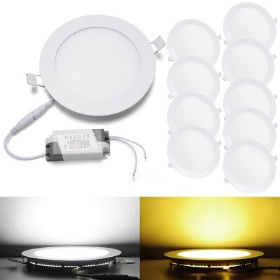 10x Round LED Recessed Ceiling Panel Down Lights Lamp w/Driver 3W 9W 12W 15W 18W