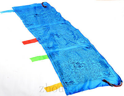 5 Ft. Long! Tibet Blessed Wind Horse Fengshui Flag: Sutra Of 5 Elements Balance