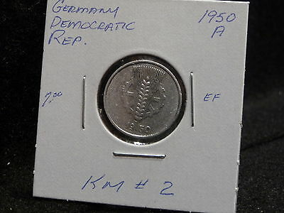 Germany  Democratic Rep. :  1950 A   5 Pfennig  Coin   (Ef.)  (#693)  Km # 2