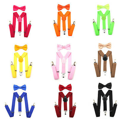 Unisex Kids Baby Toddlers Suspender and Bow Tie Set for Boy Girl Adjustable Hot