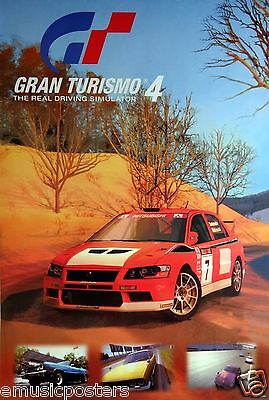 """Gran Turismo 4 """"four Cars In Action"""" Poster From Asia - Video Racing Automobiles"""