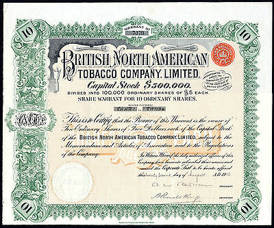 British North American Tobacco Co. Ltd., 10 shares of $5, 1912, Br. Columbia