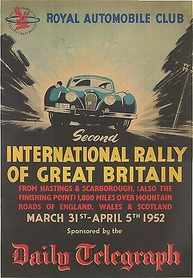 Jaguar XK120 International Rally of GB Poster (SPECIAL) Daily Telegraph, Print