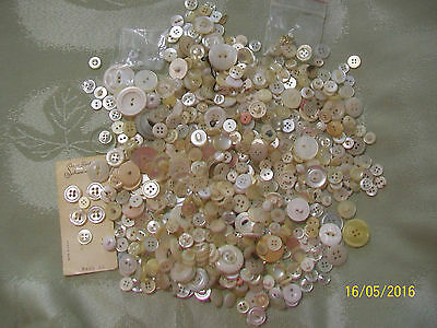 Vintage Mixed White, Clear & Light Color Buttons - Various Sizes