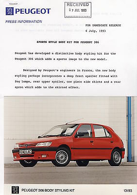 Peugeot 306 Factory Body Styling Kit Press Release/Photograph - 1993