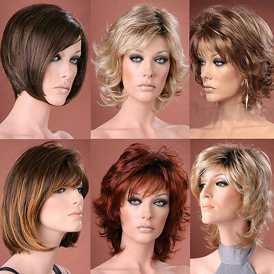 Ladies Short Wig Blonde Black Brown Wig Bob Pixie Boycut Wispy Fashion Wigs 2