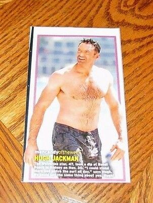 Shirtless HUGH JACKMAN 4X7 PINUP Clipping Male Movie Star Hairy Chest