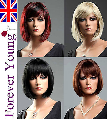 Ladies Short Wig Black Brown Blonde Red Wig Brush Bob Style Fashion Full Wigs