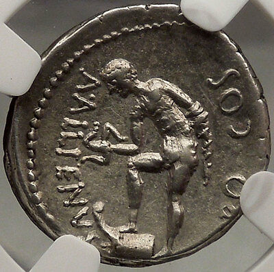 JULIUS CAESAR Authentic Ancient Silver NGC Certified Ch XF* Roman Coin Trinacrus