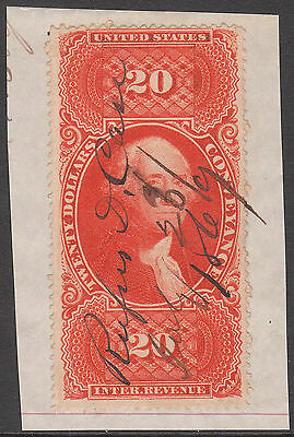 US 1862 Sc#R98c PEN CANCELLED USED $20 CONVEYANCE REVENUE STAMP